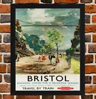 Framed Bristol Railway Travel Poster A4 / A3 Size In Black / White Frame