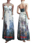 Formal Evening Party Dress Gown Long Floral Print Poly Silk Chiffon Beaded New
