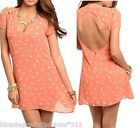 Coral/White Dot Print Open Cut-Out Back Cap Sleeve Blouse Top/Tunic/Mini