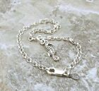 Sterling Silver Mini Seahorse Charm on  Sterling Silver  Rolo Bracelet - 0756