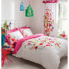 Catherine Lansfield Bright Floral White Pink Duvet Quilt Cover Bedding Set