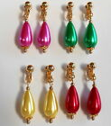 BIG BRIGHT & COLOURFUL PEARL DROPS - GOLDEN CLIP ON EARRINGS (Hook Options)