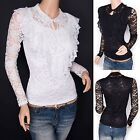Vintage Victorian Lace Floral Ruffle Faux Pearl Long Sleeves Blouse Top