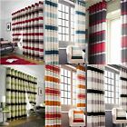 PIMLICO STRIPE CHENILLE LINED EYELET CURTAINS READY MADE PAIRS ALL SIZES COLOURS