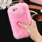 Good Furry Rabbit Fur Bling Crystal Rhinestone Case Cover For Iphone 6 6S Plus