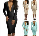Sexy Women  Deep V Open Back Long Sleeves Casual Maxiskit Cocktail Party