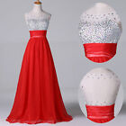NEW BEADED Long Wedding Formal Evening Gown Prom Bridesmaid Party/ Teens Dresses