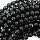 "Faceted Black Onyx Round Beads Gemstone 15"" Strand 2mm 3mm 4mm 6mm 8mm 10mm 12mm"