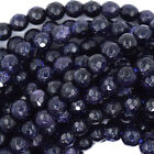 "Faceted Blue Goldstone Round Beads Gemstone 14.5"" Strand 4mm 6mm 8mm 10mm 12mm"