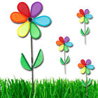 LARGE GARDEN FLOWER WINDMILL WIND SPINNER SPIN RAINBOW COLOURFUL OUTDOOR DECO