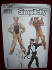 SIMPLICITY #7648-CHILDS FULL SUITED LION-BEAR-CAT-RABBIT COSTUME PATTERN 10-12uc