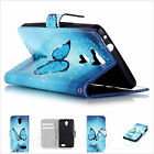 Book Flip Wallet Light Blue Butterfly Printed Leather Pu Case Cover For phones