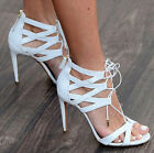 NEW 2017 Women High Heels Leather Strappy Hollow Out Lace Stiletto Shoes Sandals