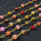 16Ft 5~6mm Rainbow Fire Agate Rondelles Rosary Beaded Chain Wire Wrapped BJT073