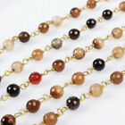 16Ft 5~6mm Brown Agate Rondelles Seed Rosary Beaded Chain Wire Wrapped BJT077