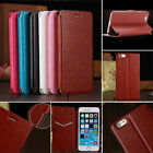 For Apple iPhone 5 5S 6 6 PLUS Slim Genuine PU Leather Flip Case Wallet Cover