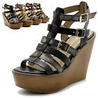 Ollio Womens Shoes Burnished Vintage Gladiator Straps Wedges High Heels Sandals