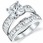 2.50 Carat Princess Cut Sterling Silver .925 Engagement Ring Wedding Band With