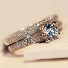Fashion Jewelry Women Silver Plated White Gold Plated Engagement Ring Size 8-20