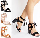 Womens Ladies high block heel ankle lace up tassel summer party sandals size