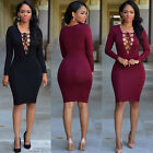 UK New Sexy Women Club Bandage Cocktail Long Sleeve Bodycon Lace Up Party Dress