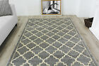 Quality Carved Trellis Modern Rugs Soft Geometric Silver Grey Living Room Rugs