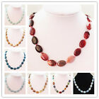 S-42 Mixed Gemstone Oval Necklace 17.5 inch 17x12x5mm