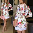 Boho Women's Floral 3/4 Sleeve Lace Party Mini Dress Beach Sundress Summer Tunic
