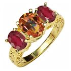3.80 Ct Ecstasy Mystic Topaz African Red Ruby 18K Yellow Gold Plated Silver Ring
