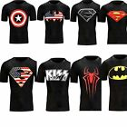 Men's Superhero Black Tights Fitness Quick dry Short Sleeved T-shirt Jersey Tees