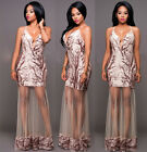 Deep V Neck Women Sequin Maxi Dresses Veils Long Ladies Party Dress Vestidos