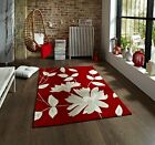 Soft Hand Tufted Bright Contemporary Red Beige Flower Leaf Print Living Area Rug