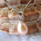 8.0*10.0mm Peach Pink Drop Freshwater Pearl Pendant P1S