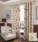FLORAL RED LINED EYELET CURTAINS RINGTOP LUXURY JACQUARD FLORENCE