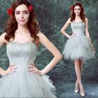 Gray Short Bridesmaid Feather Lace Evening Tiered Gown Grad Cocktail Prom Dresse