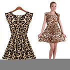 Girl Summer Soft Women Sexy Leopard Casual Evening Cocktail Party Mini Dress