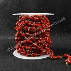 16Ft 5~6mm Red Quartz Sead Beads Wire Wrapped Rosary Beaded Link Chain HJT030