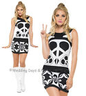 8-18 Sexy Peace Lover Costume Ladies 60s 70s Mod Hippie Hippy Fancy Dress Outfit