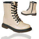 LADIES GIRLS FASHION WOMENS WORKER ANKLE SHOES SIZE UK 3-8 COMBAT BOOTS