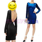 Sexy Womens Velvet Open Backless Long Sleeve Clubwear Party Ball Mini Dress