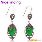 18x32mm Marquise Stone Tibetan Silver Marcasite Earrings Jewelry For Women Gifts