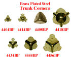 Brass Plated Stamped Steel TRUNK CORNERS, 7 Styles,  Sold in Pairs or Lots of 8