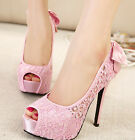 Lace Bowknot Open Toe Platform High Heel New Bride Wedding Party Lady Pump Shoes