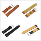 Genuine Leather Watch Strap Band Women Men Stainless Steel Buckle