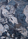Navy Blue Gray Transitional Area Rug All-Over Floral Vines Distressed Carpet