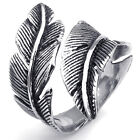 MENDINO Vintage Men's Women's Stainless Steel Ring Feather Wrap Black Silver