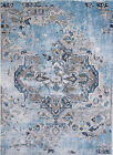 Area Rugs Soft Blue Ivory Transitional Area Rug Distressed Vines Scrolls Carpet