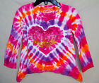 FLAPDOODLES Stretch Long Sleeve Tie Dye HEART BURST Top GIRL SIZES NWT