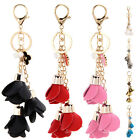 New Tassel Leather Flower Keychain Crystal Car Keyring Bag Handbag Charm Pendant
