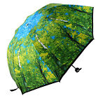 Compact Folding Windproof Anti UV Sun Rain Maple Painting Women Lady Umbrella
